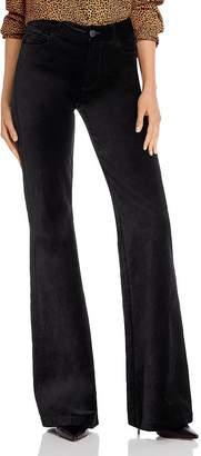 Paige Genevieve Flared Velvet Jeans in Black