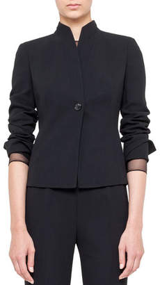 Akris One-Button Jacket with Mandarin Collar