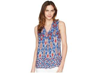 Tribal Printed Sleeveless Blouse w/ Front Pleat Women's Blouse