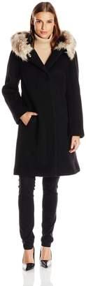 Eliza J Women's Sweater Coat with Faux Fur Hood