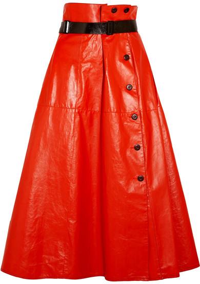Bottega VenetaBottega Veneta - Belted Glossed-leather Midi Skirt - Tomato red