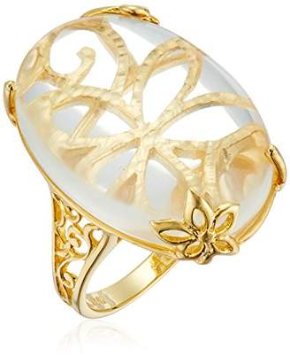 Gold Plated Quartz See-Through Flower Ring