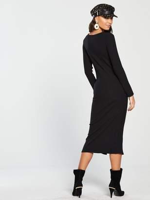 River Island Button Front Jersey Midi Dress - Black