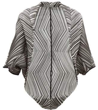 Issey Miyake Batwing Striped Pleated Crepe Jacket - Womens - Black White