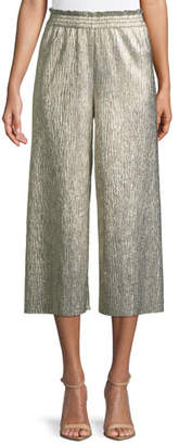 Alice + Olivia Elba Metallic Plisse Pull-On Cropped Wide-Leg Pants