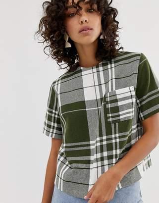Asos multi check woven t-shirt