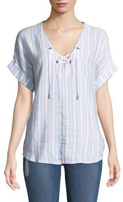 Rails Jeri Striped Lace-Up Top