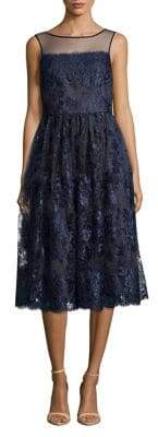 Adrianna Papell Embroidered Lace Tea-Length Dress