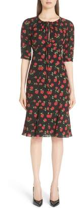 Michael Kors Rose Print Silk Georgette Dress