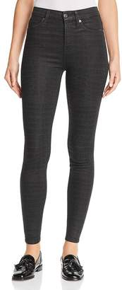 7 For All Mankind Croc-Print Coated Ankle Skinny Jeans in Black/Gray