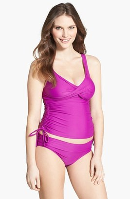 Women's Maternal America Ruched Maternity Tankini Swimsuit $124.80 thestylecure.com