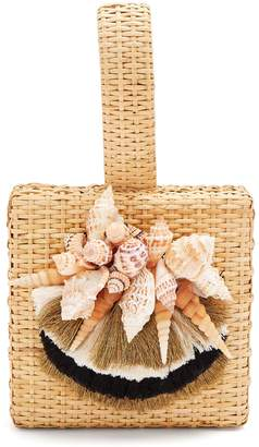 SANAYI 313 Iris seashell-embellished straw box bag