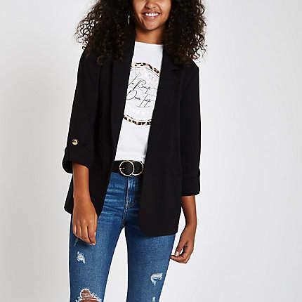 Womens Black long sleeve open front blazer