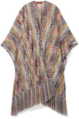 Missoni Fringed Crochet-knit Wrap - Beige