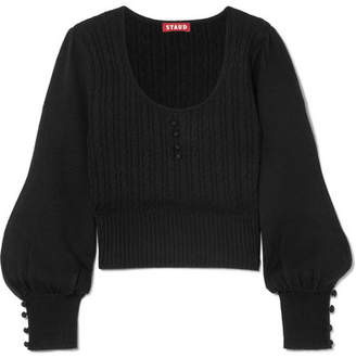 STAUD - Shelly Cable-knit Wool-blend Sweater - Black