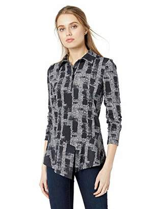 Nicole Miller Women's Painted Herringbone Collared Shirts