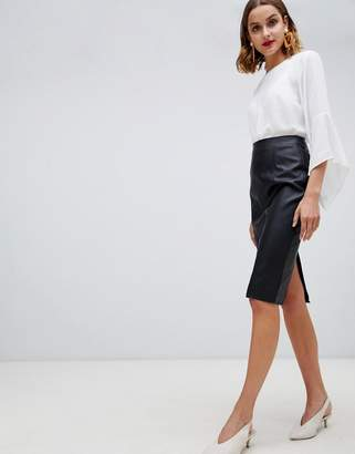 Warehouse faux leather seamed pencil skirt in black