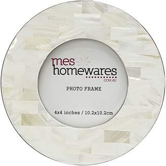 Mother of Pearl Mes Homewares Round Photo Frame, 4x4, Distressed White