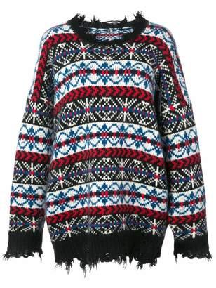 R 13 Crew Neck Oversized Fair Isle Distressed Sweater