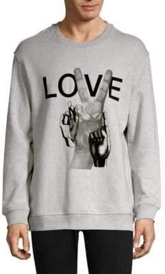 Solid Homme Love Print Cotton Sweatshirt