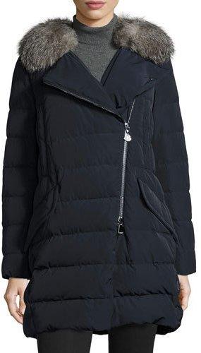 MonclerMoncler Metrodora Matte Puffer Coat w/Fur Collar, Navy