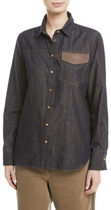 Brunello Cucinelli Snap-Front Western Denim Shirt w/ Monili Pockets