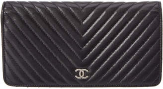 Chanel Navy Quilted Lambskin Leather Chevron Wallet