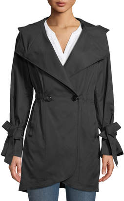 French Connection Tie-Sleeve Tulip Hem Trench Coat