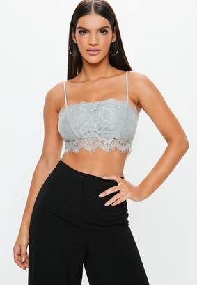 Missguided Gray Straight Neck Strappy Lace Bralet