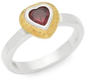 Gurhan Women's Romance Garnet Goldtone Small Heart Ring