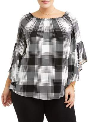 Miss Lili Women's Plus Size Plaid Ruffle Poncho Blouse