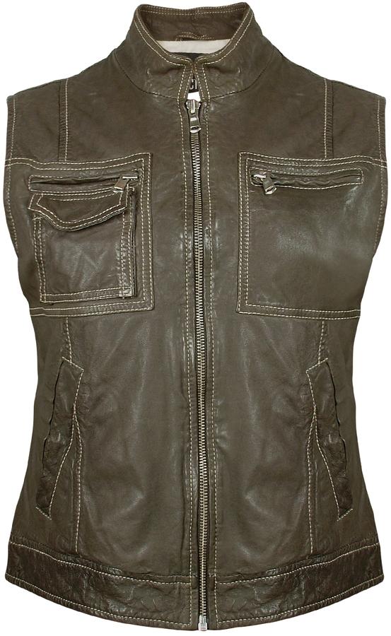Forzieri Women's Dark Green Washed Leather Vest