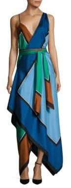 Diane von Furstenberg Scarf Hem Tiered Silk Midi Dress