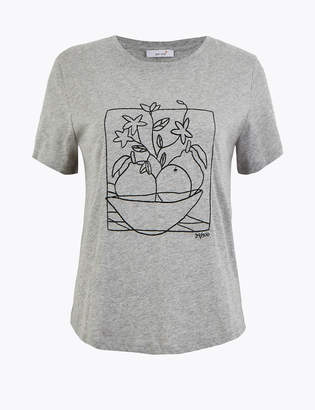 Marks and Spencer Pure Cotton Embroidered T-Shirt