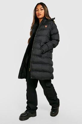 boohoo Longline Padded Hooded Jacket