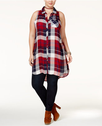 American Rag Trendy Plus Size Plaid Tunic, Only at Macy's $49.50 thestylecure.com