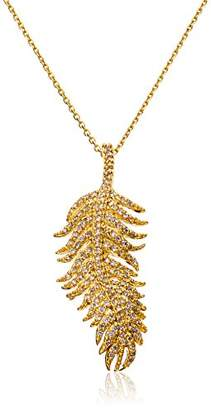 Tai 18k -Plated Cubic Zirconia Feather Chain Necklace