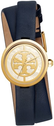 Tory Burch REVA DOUBLE-WRAP WATCH, NAVY LEATHER/GOLD-TONE, 29 MM