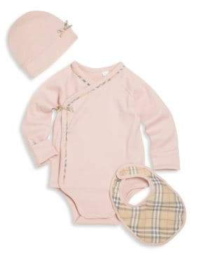 Burberry Baby's Three-Piece Bodysuit, Bib& Hat Set