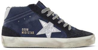 Golden Goose SSENSE Exclusive Indigo Suede Mid Star Sneakers