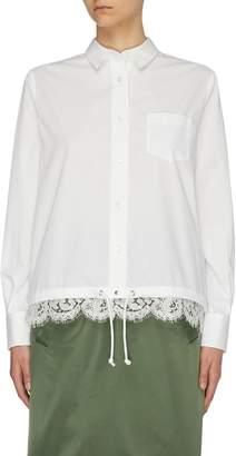 Sacai Drawstring lace hem poplin shirt