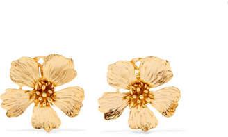 Oscar de la Renta Wildflower Gold-tone Clip Earrings