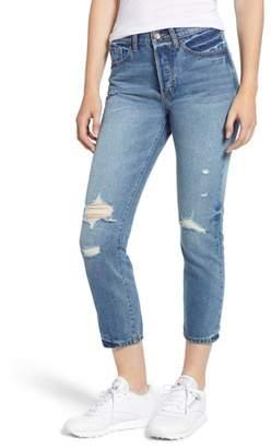 SP Black Ripped High Waist Crop Mom Jeans