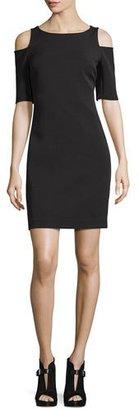 MICHAEL Michael Kors Structured Bateau-Neck Cold-Shoulder Dress, Black $175 thestylecure.com