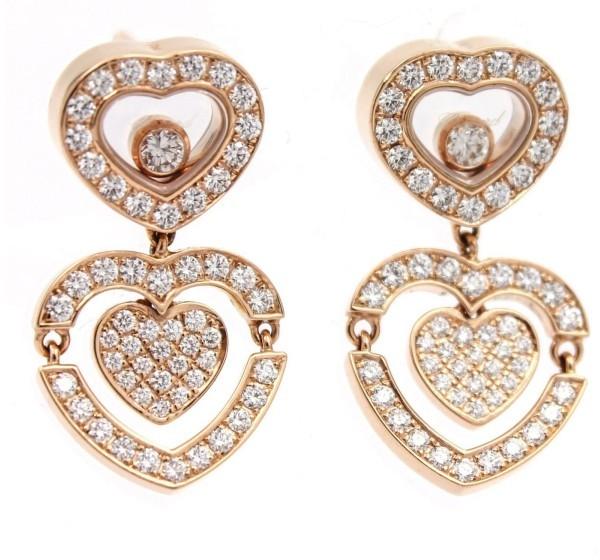ChopardChopard 18K Rose Gold Happy Amore Diamond Heart Drop Dangle Earrings