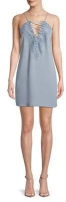 WAYF Lace-Up V-Neck Dress