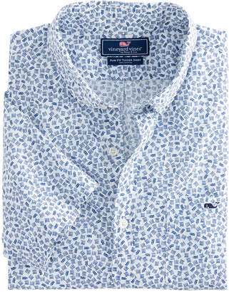 Vineyard Vines Short-Sleeve Fish Dash Slim Tucker Shirt