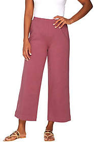 Joan Rivers Classics Collection Joan Rivers Petite Wide Leg Pull-on CroppedKnit Pants