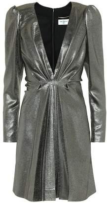 Saint Laurent Silk-blend metallic minidress