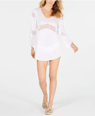 Raviya White Crochet-Inset Tunic Cover-Up Women Swimsuit